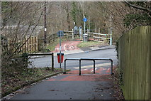 ST1494 : Cycle route crosses Penallta Road by M J Roscoe