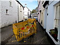 SO3700 : Yellow barriers along the middle of Maryport Street, Usk by Jaggery