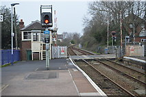 SX9688 : Topsham Station, level crossing and signalbox by N Chadwick