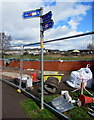 ST3189 : National Cycle Network routes 47 and 88 signpost, Lyne Road, Crindau, Newport by Jaggery