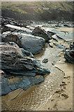 SX0486 : Stream on the beach, Trebarwith Strand by Derek Harper