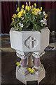 SK7790 : Font, All Saints' church, Beckingham by Julian P Guffogg