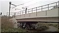 NZ3557 : Art under rail by Chris Morgan