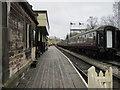 SJ9852 : Cheddleton Station - platform and carriages by John S Turner
