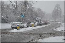 TQ5845 : Snowing, Quarry Hill by N Chadwick