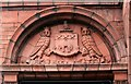 SE2932 : Former Holbeck Public Library - Leeds City coat of arms – 'supporting the king and the law' by Alan Murray-Rust
