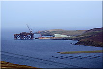 HU4545 : Oil rig being dismantled at Dales Voe, Lerwick by Mike Pennington
