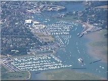 SZ3394 : Aerial view over Lymington River and marina by David Martin