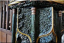 SX3384 : Launceston, St. Mary Magdalene's Church: The early c16th pulpit 4 by Michael Garlick