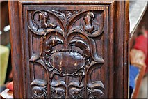 SX3384 : Launceston, St. Mary Magdalene's Church: Fine late Victorian bench ends 2 by Michael Garlick