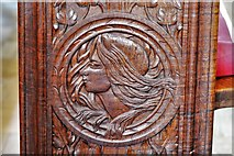 SX3384 : Launceston, St. Mary Magdalene's Church: Fine late Victorian bench ends 4 by Michael Garlick