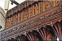 SX3384 : Launceston, St. Mary Magdalene's Church: Chancel screen detail 1 by Michael Garlick