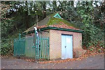 SX9574 : Water Company building, Smuggler's Lane by N Chadwick