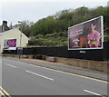 ST2390 : Benches and adverts on the east side of Tredegar Street, Risca by Jaggery