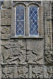 SX3384 : Launceston, St. Mary Magdalene's Church: The south porch showing St. George and Dragon sculpture by Michael Garlick