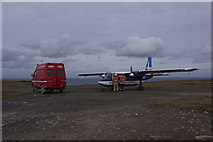 HT9737 : Britten Norman Islander and fire tender on the airstrip, Foula by Mike Pennington
