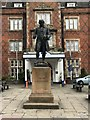 SJ8745 : Statue of Josiah Wedgwood outside North Stafford Hotel by Jonathan Hutchins