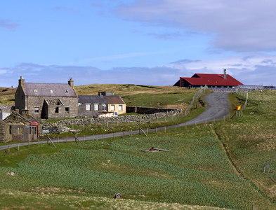 HT9638 : The school and Toon o' Ham, Foula by Mike Pennington