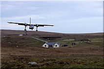 HT9737 : Britten Norman Islander approaching the airstrip on Foula by Mike Pennington