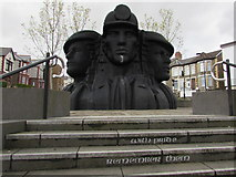 ST1599 : Miners' Heads public artwork, Hanbury Square, Bargoed by Jaggery