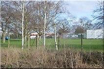 TQ2067 : Sports Ground by Hogsmill River by N Chadwick