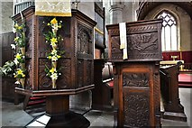 SO3958 : Pembridge, St. Mary the Virgin Church: The Jacobean pulpit and lectern by Michael Garlick