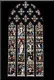 SO3958 : Pembridge, St. Mary the Virgin Church: c19th west window portraying fourteen Gospel scenes by Michael Garlick