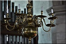 SO3958 : Pembridge, St. Mary the Virgin Church: The 1722 brass candelabra above the crossing by Michael Garlick