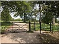 SJ8640 : Metal gates in Trentham Park by Jonathan Hutchins