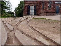 SJ6603 : Tracks of the plateway at the Museum of the Gorge by Graham Hogg