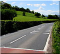 SO1723 : Crocodile teeth markings on the A479 on the southern approach to Cwmdu, Powys by Jaggery