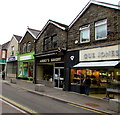ST1599 : Aubrey's Bakery and Gus Jones jewellers in Bargoed town centre by Jaggery