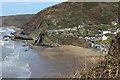 SN2751 : Tresaith Beach and Waterfall by John Dalling