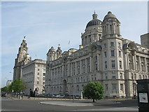 SJ3390 : Royal Liver Building, Cunard Building and Port of Liverpool Building by G Laird