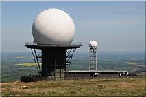 SO5977 : Radar domes on Titterstone Clee Hill by Philip Halling