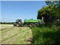 SU0372 : Tractor entering mown field, Compton Bassett by Vieve Forward