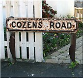 TG2407 : Cozens Road - this road sign has been here a long time by Evelyn Simak
