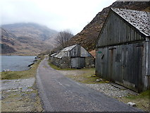 NG9406 : Sheds at Kinloch Hourn by Richard Law