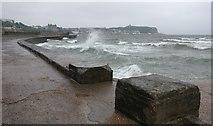 TA0487 : Rough seas at Scarborough's South Bay promenade by Mat Fascione