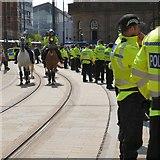 SJ8397 : Police horses on the tramlines by Gerald England