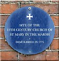 TG2308 : Plaque marking the site of St Mary in the Marsh church by Evelyn Simak