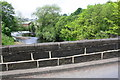 SE0623 : View of River Calder and weir over west parapet of Mearclough Bridge by Roger Templeman