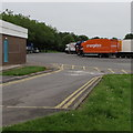 ST8979 : Orangebox lorry in Leigh Delamere Services Eastbound by Jaggery