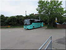 SU4766 : Turquoise Barnes coach at the back of Newbury bus station by Jaggery