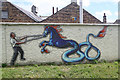 NT4628 : Artwork on a Selkirk flood protection scheme wall by Walter Baxter