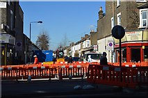 TQ3787 : Roadworks at entrance to Salcombe Rd by N Chadwick