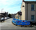ST3187 : Blue temporary barriers on the corner of South Market Street and East Market Street, Newport by Jaggery