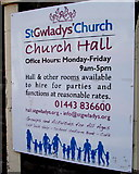 ST1599 : St Gwladys Church Hall information board, Church Place, Bargoed by Jaggery