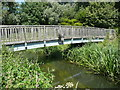 TL1839 : Footbridge from the Millennium Green over the River Ivel by Humphrey Bolton