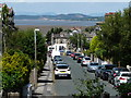 SD4666 : Station Road, Hest Bank, with Morecambe Bay beyond by Christine Johnstone